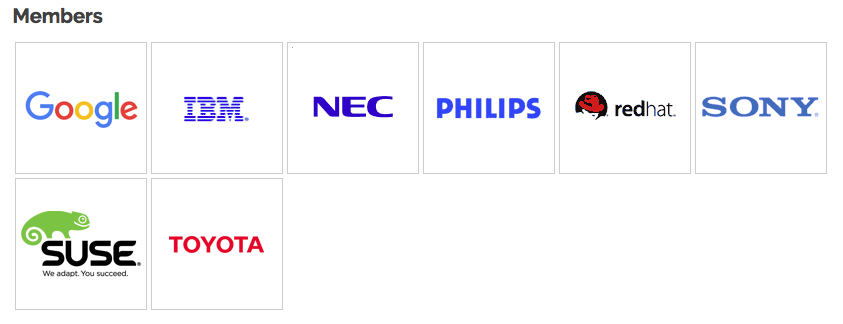 Shows logos of IBM, PHilips, NEC, Google, RedHat, Sony Suse and Toyota