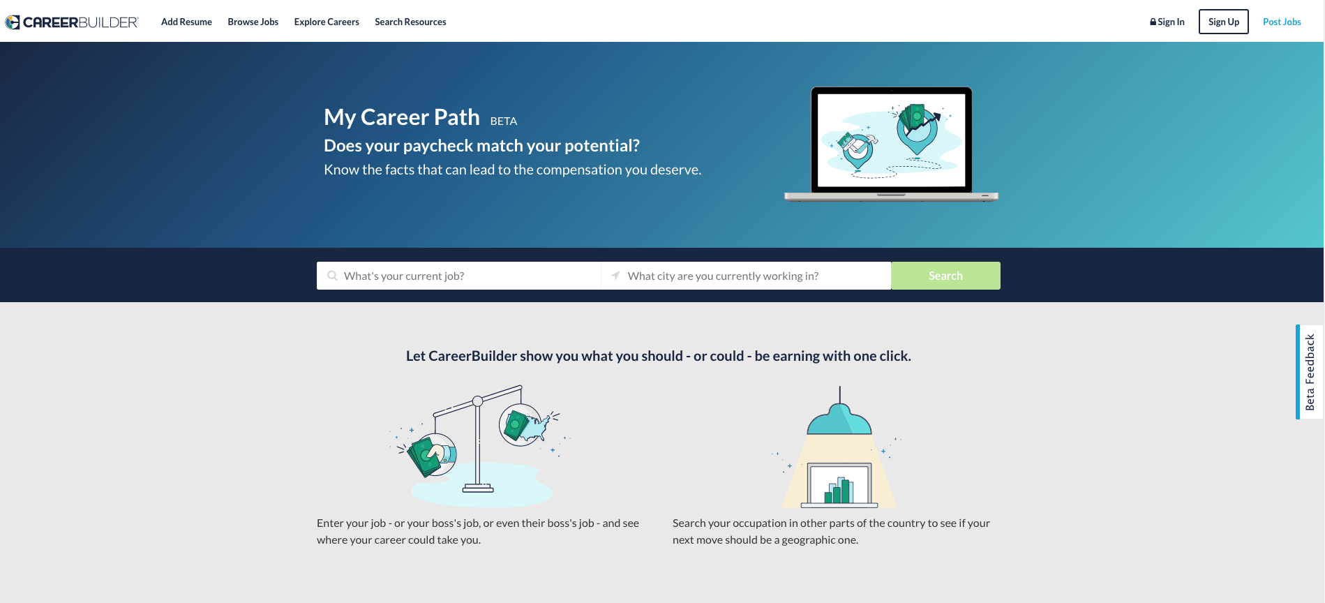 Screenshot from CareerBuilder website