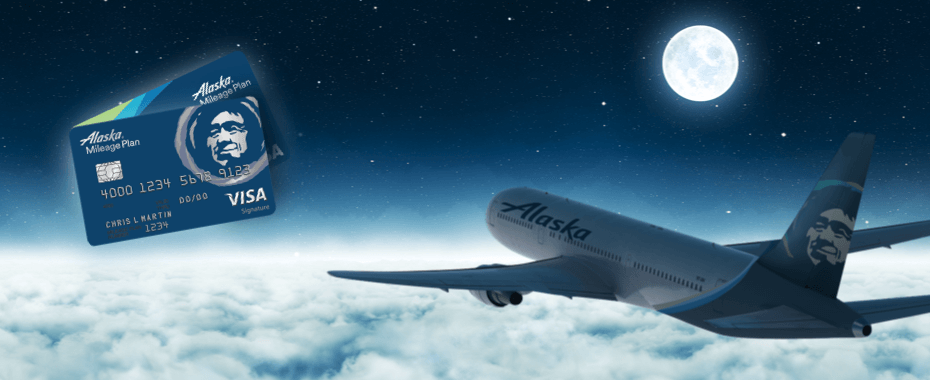 Shows Alaska Plane flying in the night with Alaska Credit Cards