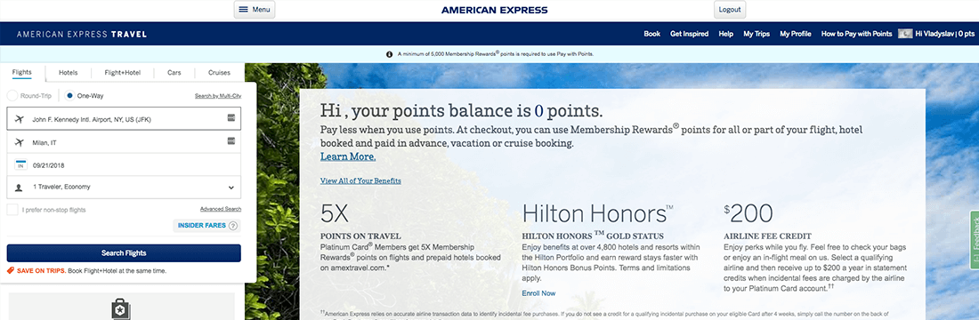 book your flight through Amex Travel