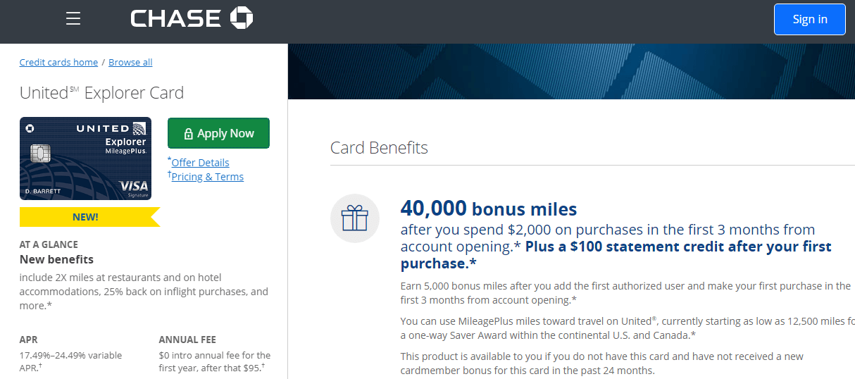 apply for chase united explorer card