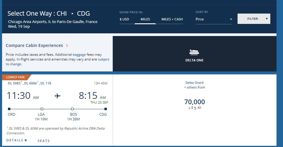 Delta One 70,000 mile award ticket