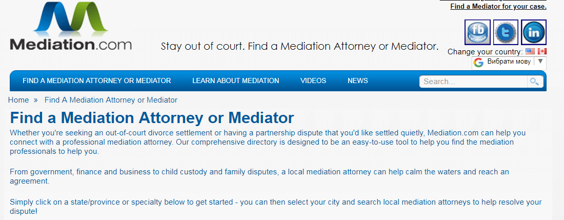 Find an attorney or mediator with mediation.com