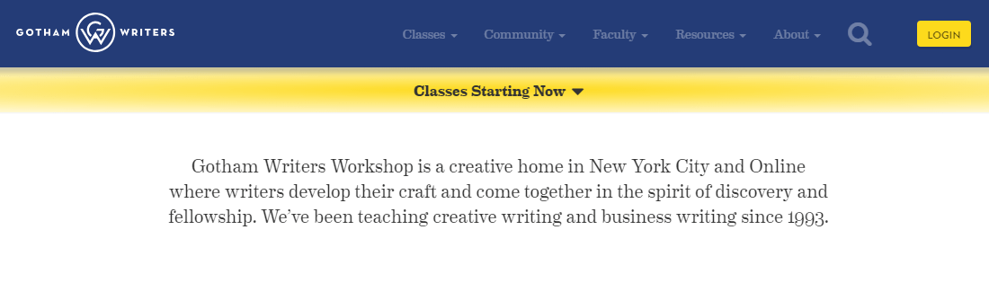 Gotham writers offers global classroom's where writers develop as professionals