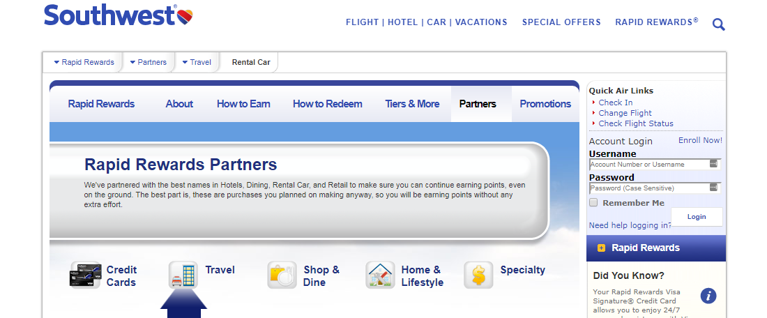Southwest Airlines Rapid Rewards Partners