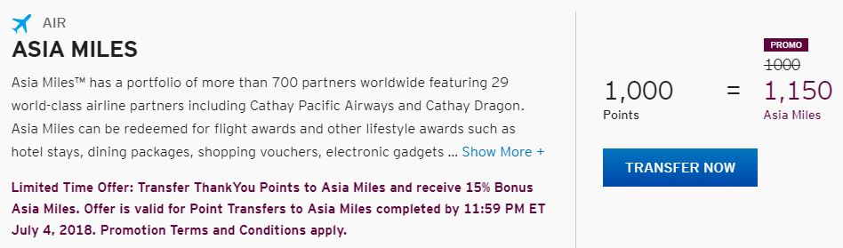 Asia Miles offers bonuses to the clients