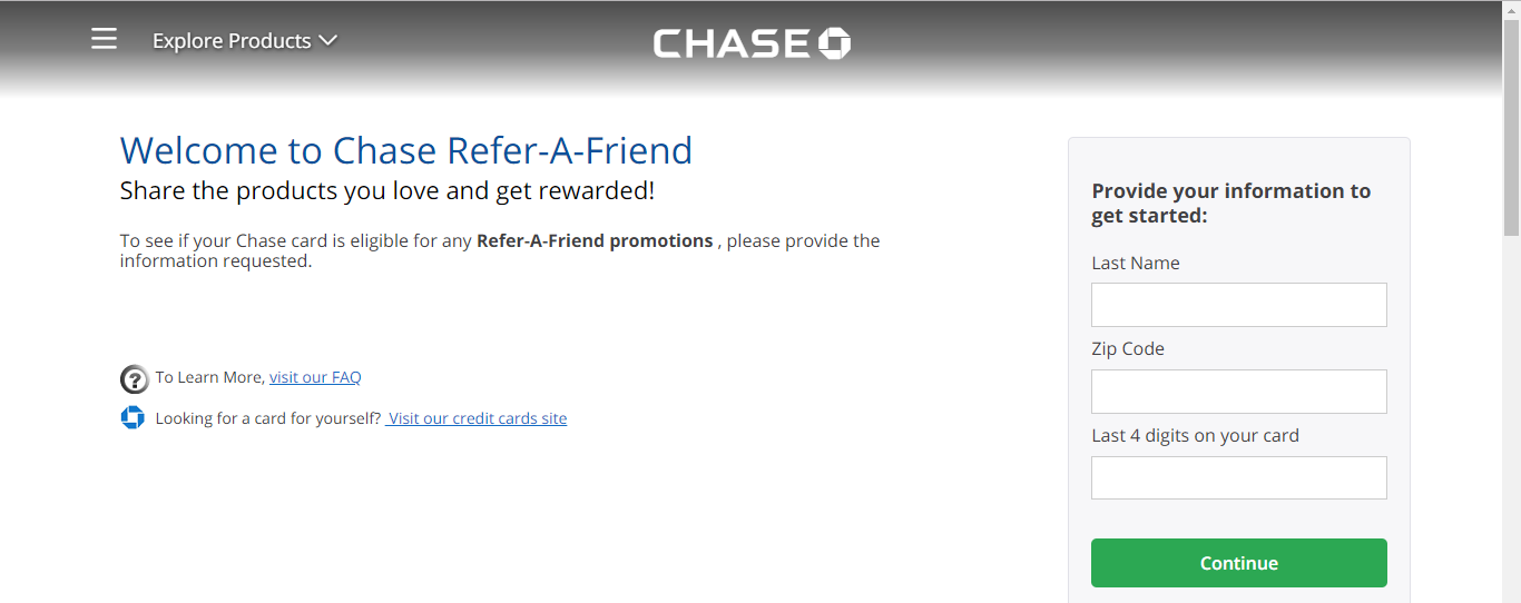 Refer a friend through a Chase website