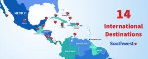 Map with Southwest international destinations