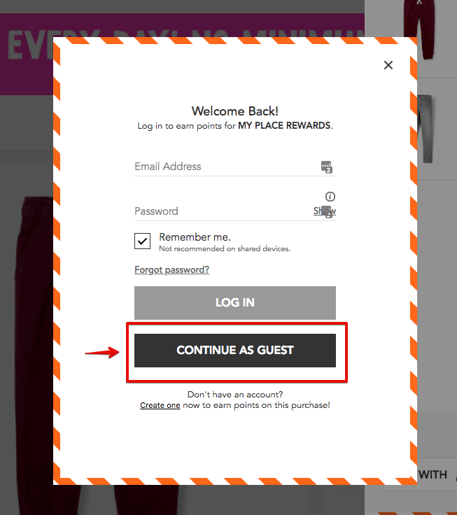 showing popup to check as guest