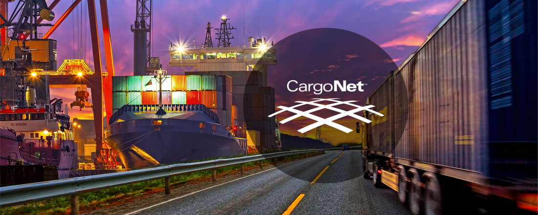 there is cargo ship on the picture and a logo of the company