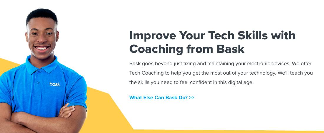 Text: Improve your Tech Skills with Bask