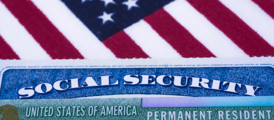American flag add a social security card