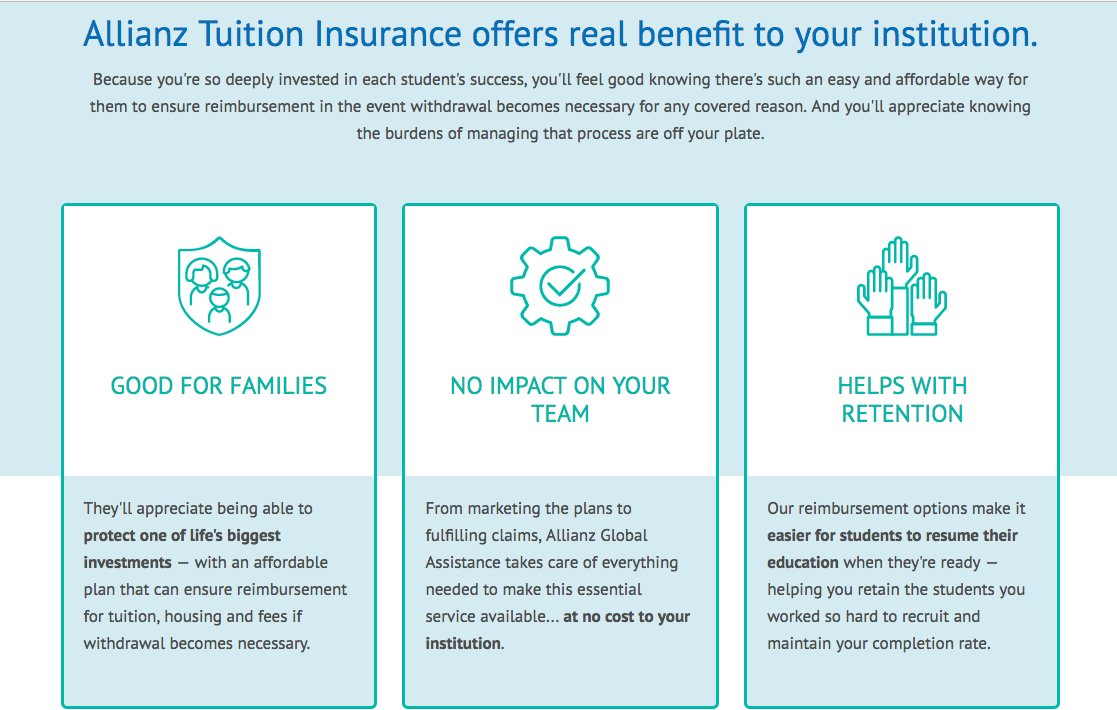 There is a table with benefits from allianztuitioninsurance.com