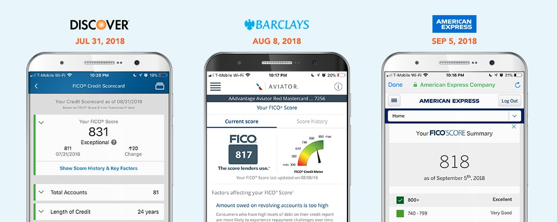 three different credit score print screens from different banks