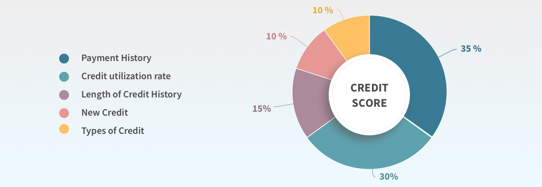 Pie chart shows credit score structure