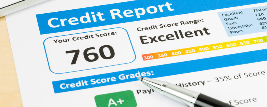 shows credit score report with excellent score