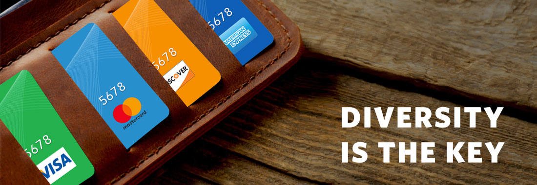 Wallet with credit cards from different networks