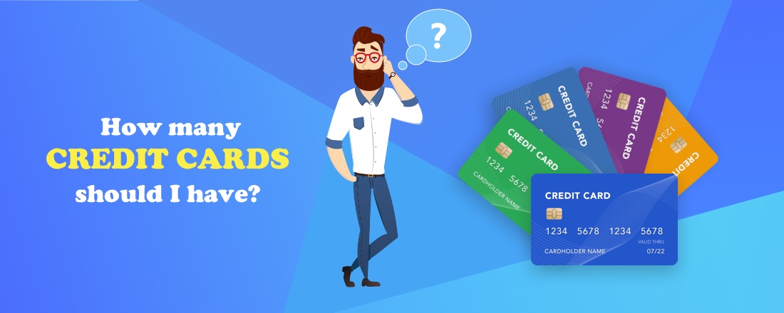 Cartoon man wonders how many credit cards he should have