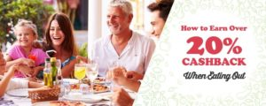 Shows people dining and message How to Earn 20% when Eating out