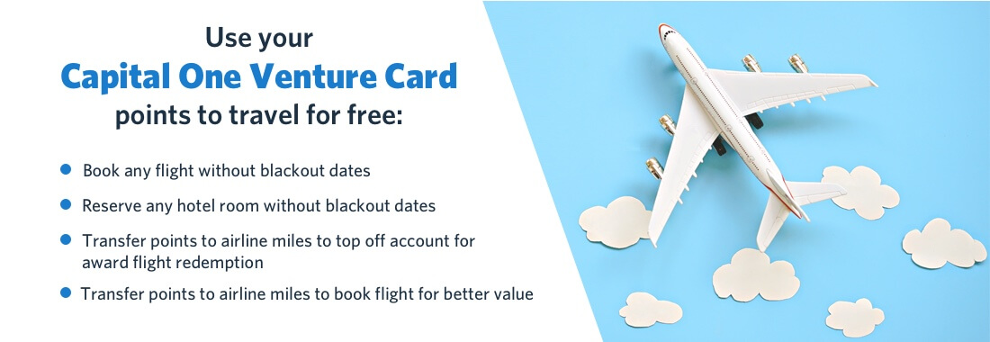 ways you can use your Capital One Venture Card points to travel for free:
