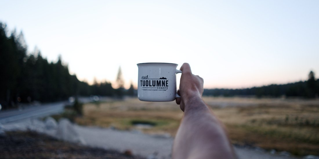 Tuolumn Meadows and a branded cup
