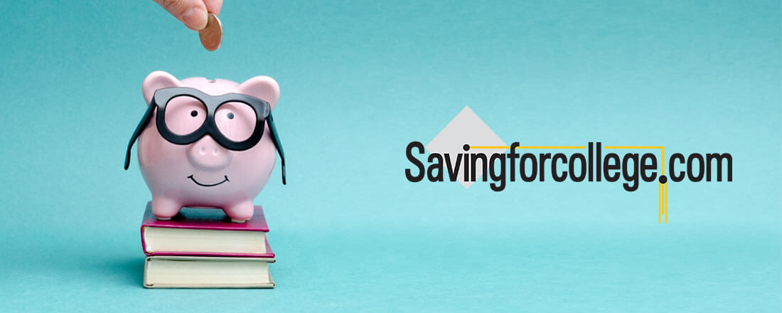 Piggy-bank is glasses near savingforcollege.com logo