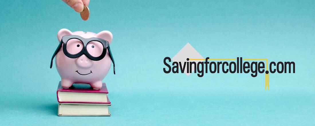 Piggy-bank is glasses near savingforcollege.com logo