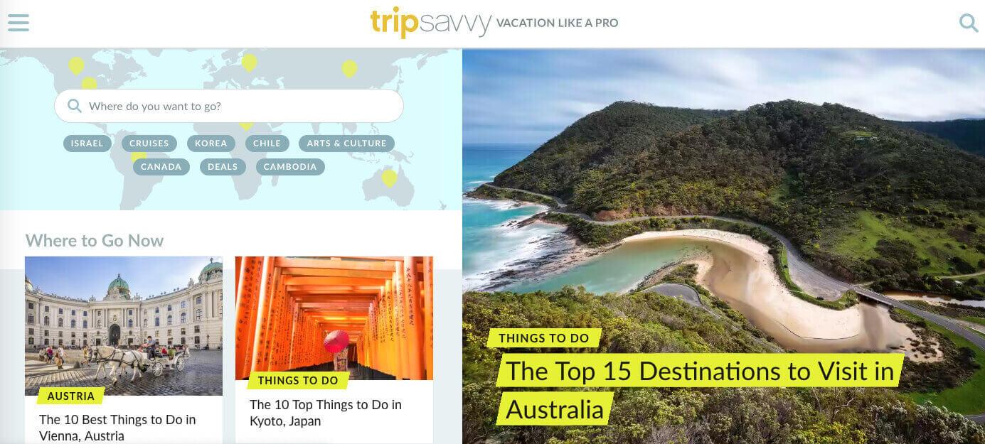 TripSavvy homepage