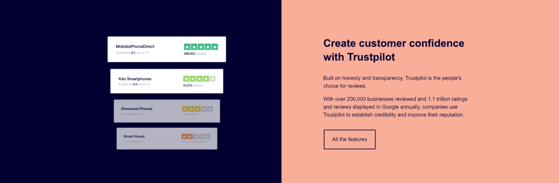 Create customer confidence with Trustpilot