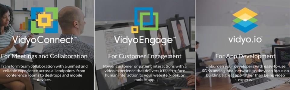 Three products of the company:V idyoConnect, VidyuEngage and Vidyo.io