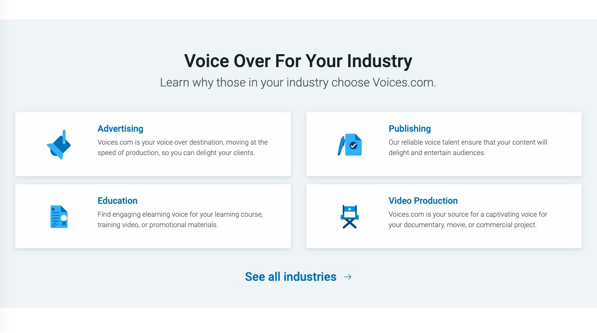 Voice over for any industry