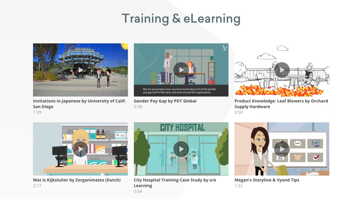 Vyond use for training and e-learning