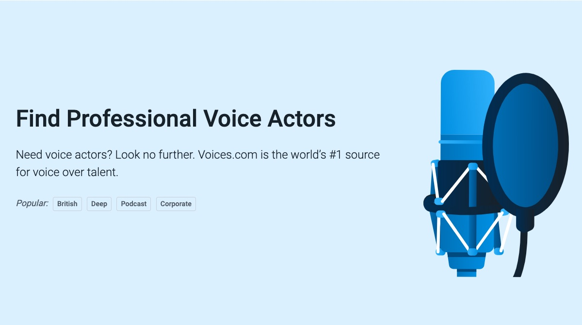 #1 source for voice over talent.