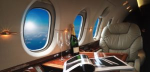 Shows luxury airplane cabin