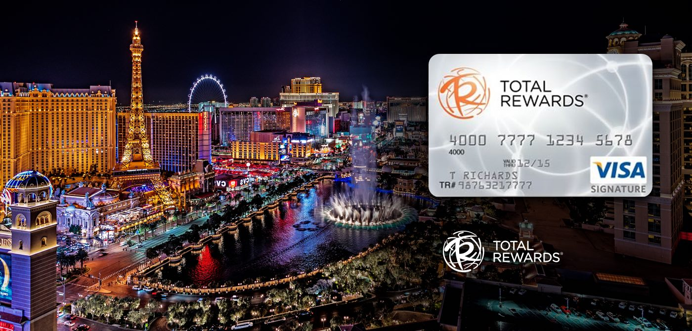 Shows Las Vegas at night with total rewards credit card on the right side