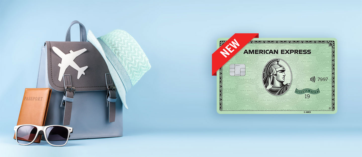 shows the amex green card and travel accessories