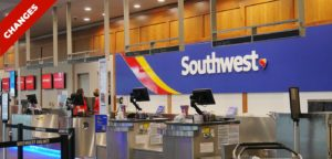 shows a soutwest counter at the airport