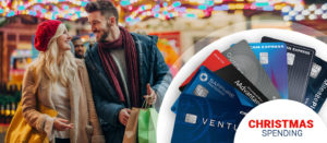 showing different credit cards and a loveable couple with shopping bags