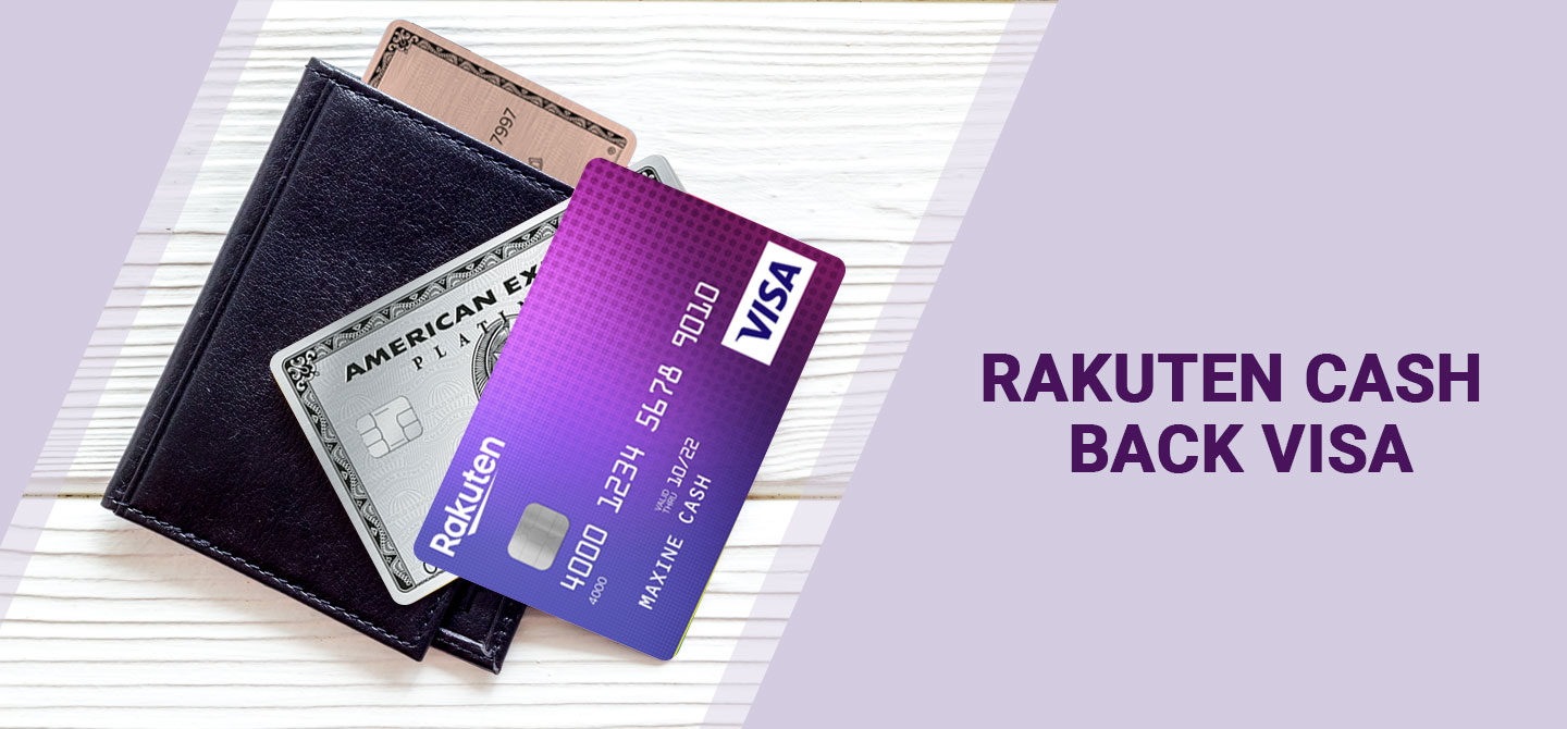 Shows Rakuten Visa card and Amex cards