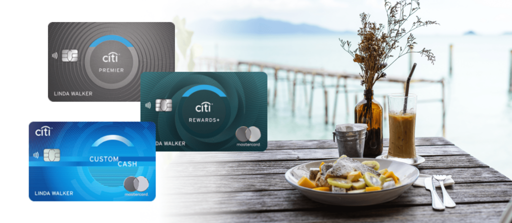 A list of credit cards you can apply online and start earning ThankYou rewards: Citi Premier Card, Citi Rewards+® Card, Citi Custom Cash℠ Card.